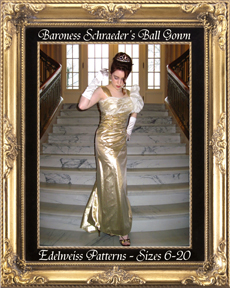 baroness schraeder, sound of music dress, sound of music costume, baroness schraeder gold dress, the baroness gown